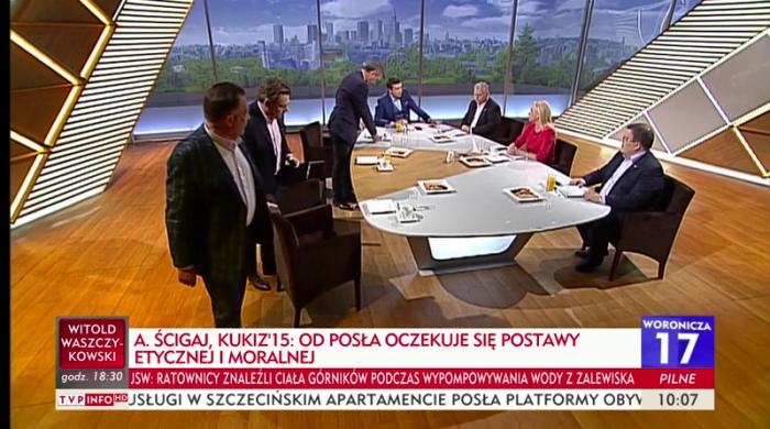 """TVP wydaje oświadczenie po wyjściu polityków opozycji z """"Woronicza 17"""". """"Próba ingerencji politycznej w pracę dziennikarzy w Polsce"""""""