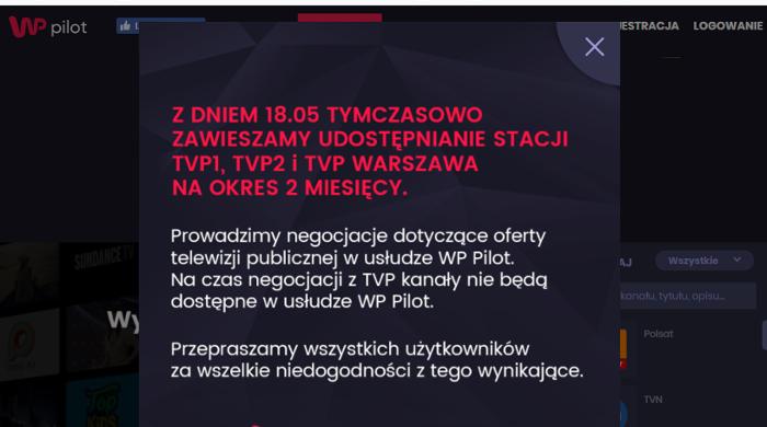 WP Pilot bez kanałów TVP. Trwają negocjacje