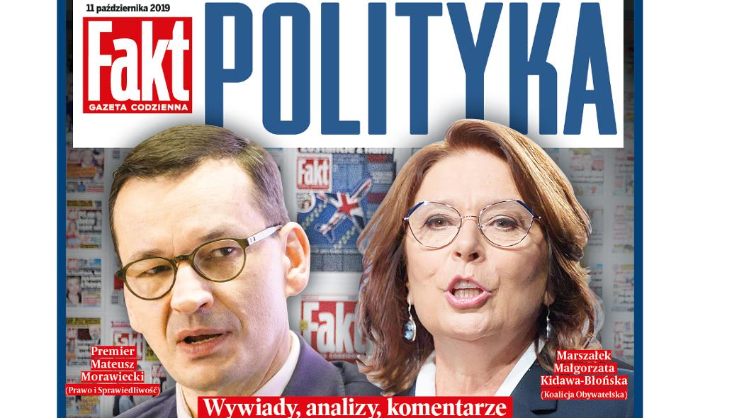 """Piątkowe wydanie dziennika Fakt z dodatkiem """"Fakt Polityka Wybory 2019"""""""