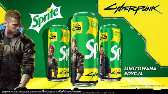 Sprite ze specjalną edycją puszek i butelek inspirowanych grą Cyberpunk 2077