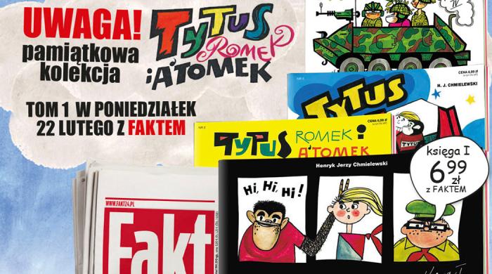 """Kolekcja komiksów """"Tytus, Romek i A'Tomek"""" z dziennikiem Fakt"""