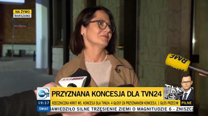 TVN24 z polską koncesją na nadawanie programu. Jest też uchwała KRRiT